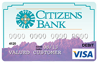 Picture of Debit Card with image of purple organ mountains and blue sky