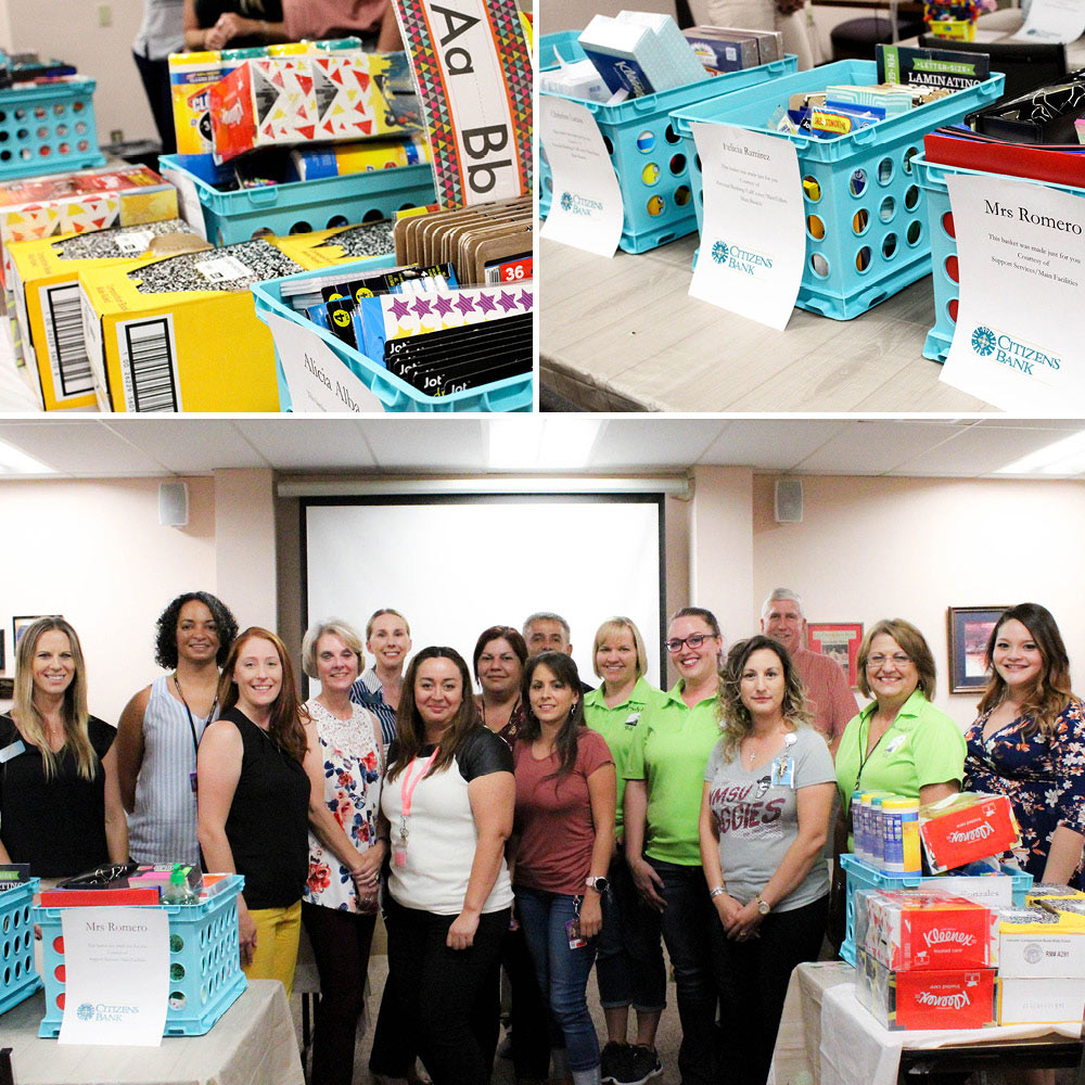 pictures of school supplies. group photo of teachers and staff.