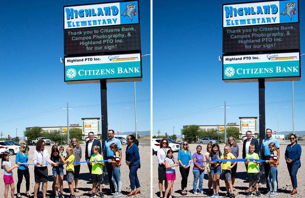 Images of school marquee and students and staff holding ribbon.