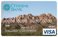 Picture of Debit Card with image of the organ mountains from the front