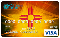 Picture of Debit Card with graphic of New Mexico Zia and superimposed star