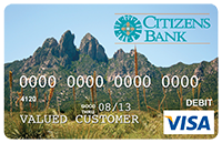 Picture of Debit Card with image of Organ Mountains with yucca in front