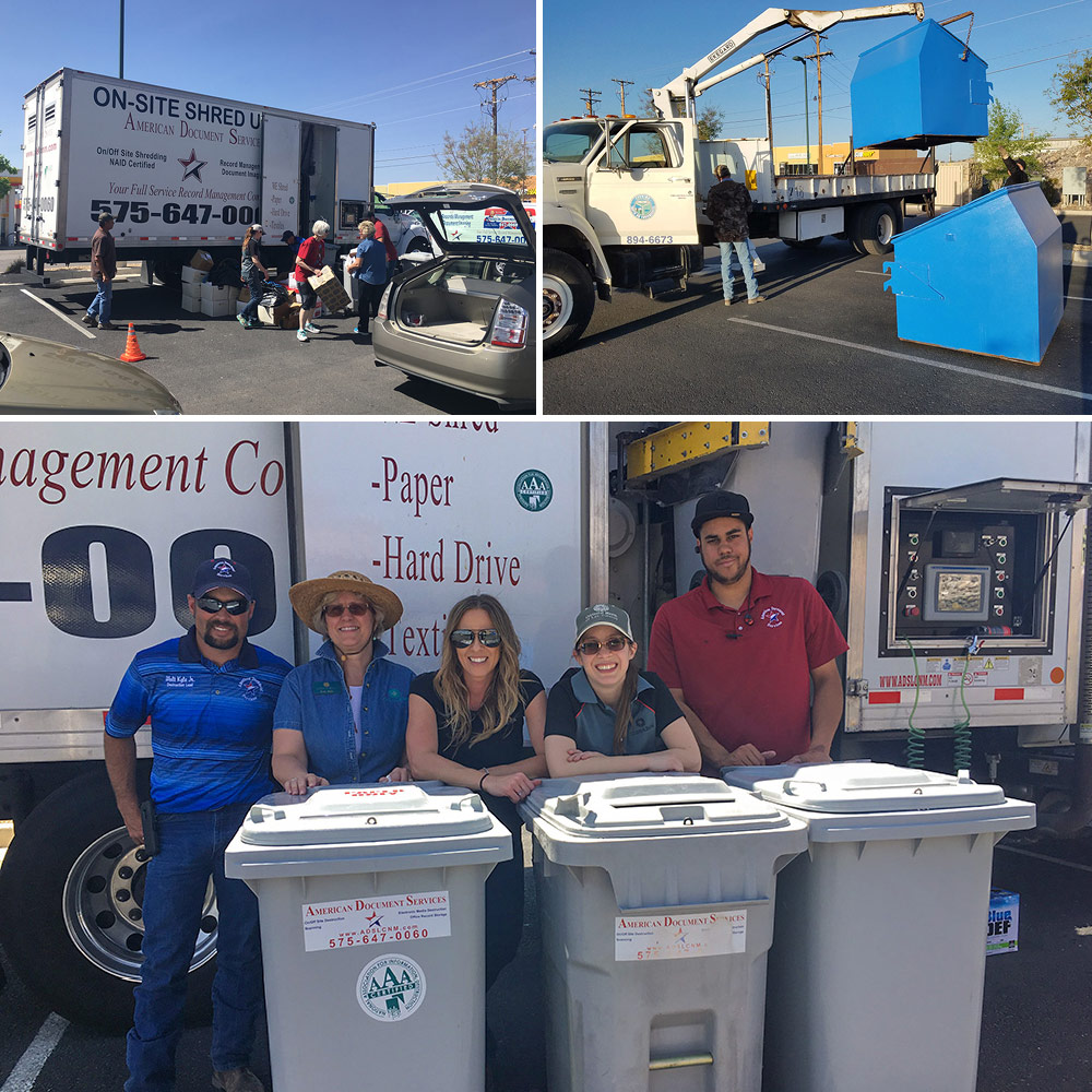 Collage of pictures from T or C community shred day. People dropping of boxes. recycle bins being unloaded, team posing in front of the truck.