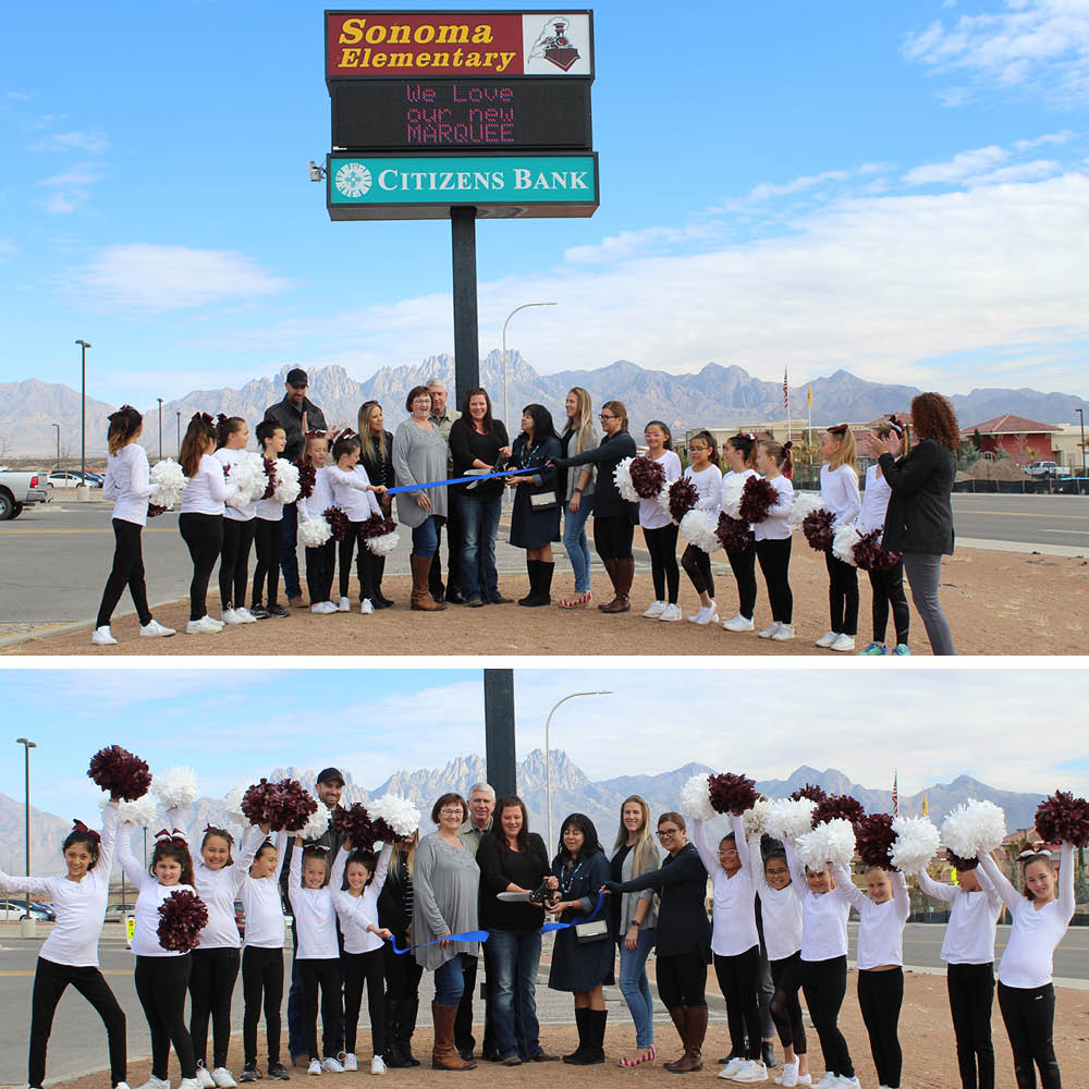 collage of sonoma ranch elementary marquee sign ribbon cutting with students and staff