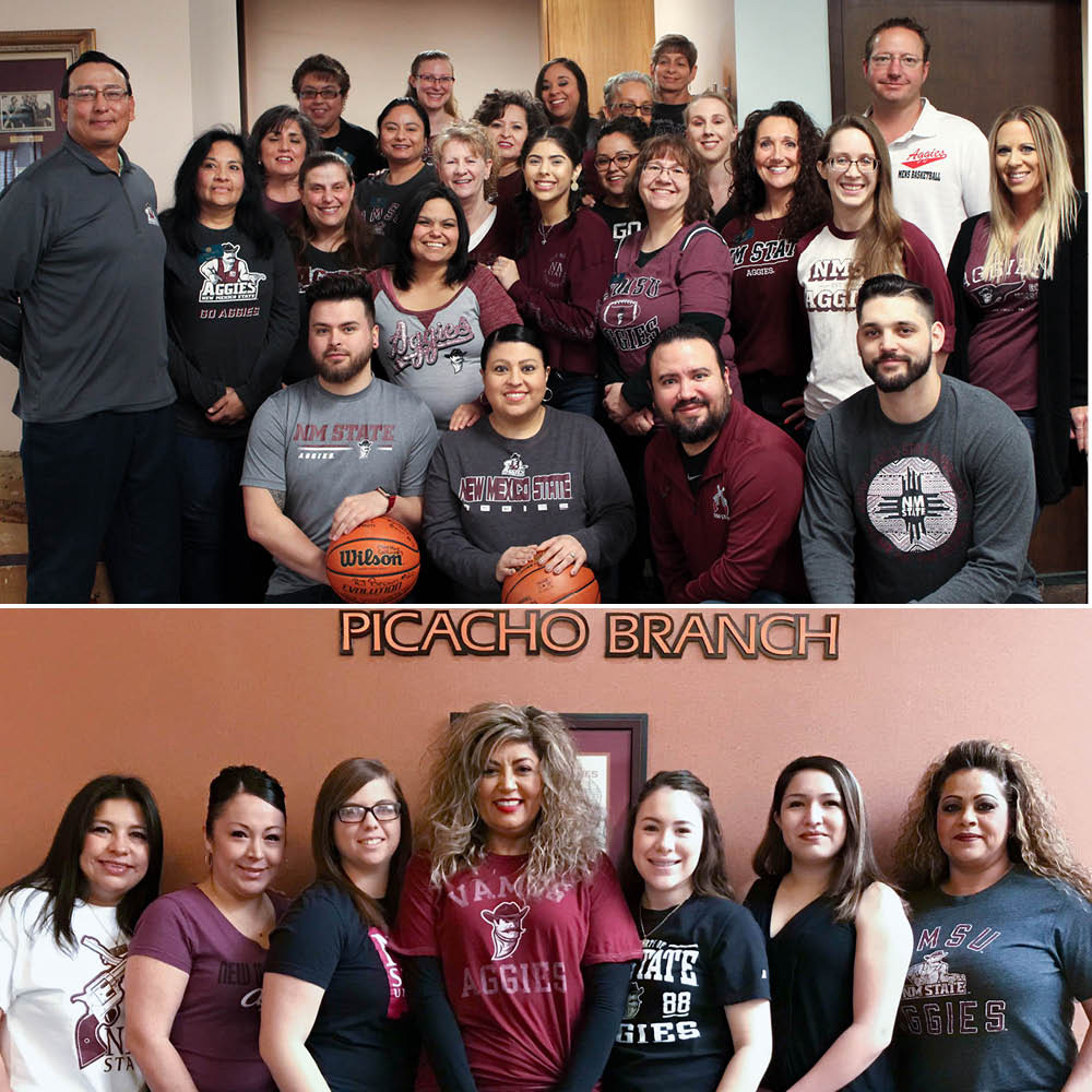 pictures of staff wearing aggie gear