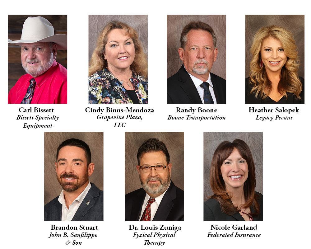 pictures of our 2019 board of councilors: Carl Bissett, Cindy Binns-Mendoza, Randy Boone, Heather Salopek, Brandon Stuart, Dr. Louis Zuniga, and Nicole Garland