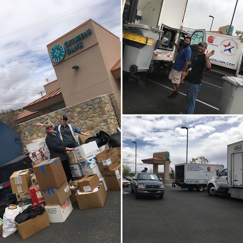 collage of bank staff and ads staff helping with the t or c shred day